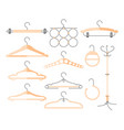 set of hangers - modern realistic isolated vector image