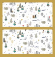 set of winter forest backgrounds with animals and vector image