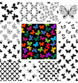 Set seamless patterns with butterflies vector image vector image