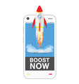 smartphone with boost up application vector image