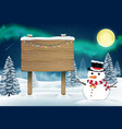 snowman and wood board sign in nigth winter forest vector image vector image