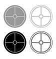 viking shield icon set grey black color outline vector image vector image
