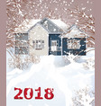 vintage house winter snowy background vector image vector image