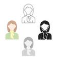 woman icon cartoonblack single avatarpeaople vector image