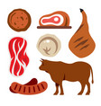 beef flat style colorful cartoon vector image