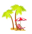 abstract summer beach lounger and palm trees vector image vector image