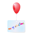 balloon with merry christmas tag vector image vector image