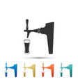 beer tap with glass icon on white background vector image vector image
