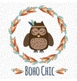 Boho owl in feather wreath in hand drawn style vector image vector image