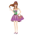 Brunette in spring dress vector image vector image