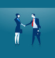 businesswoman and businessman shaking hands vector image