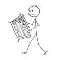 cartoon businessman reading news in newspaper vector image