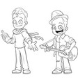 cartoon street musicians with guitar character set vector image vector image