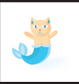 cat mermaid funny kitty with mermaids tale vector image