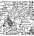 christmas decorative trees black and white vector image vector image
