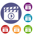 clapperboard for movie shooting icons set vector image vector image