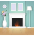 Classic interior wall with fireplace vector image vector image
