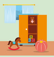 classroom kinder closet with toys bear blocks vector image