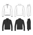 clothing set of long sleeved t-shirt with zipper vector image