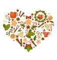 cocoa and tea christmas cookies and candies vector image vector image