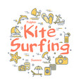 colorful icons in summer kitesurfing theme vector image vector image