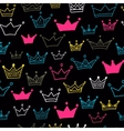 Crown seamless pattern on black background Bright vector image vector image