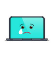 crying laptop computer isolated emoticon vector image vector image