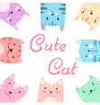 cute pretty set cat kitty vector image