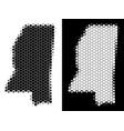 dot halftone mississippi state map vector image vector image