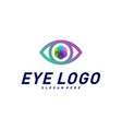 eye logo design concept template colorful media vector image