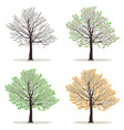 four seasons trees vector image