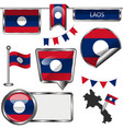 glossy icons with flag of laos vector image vector image