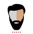 head with beard and hair icon flat style vector image vector image