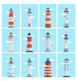 lighthouse sea set tower with a spotlight on the vector image vector image
