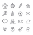 Line christmas icons for web and applications
