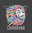 lion leo rainbow hair unicorn vector image vector image