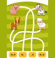maze game for children cow sheep horse and pig vector image vector image
