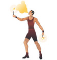 mustache fire eater in vintage style spitting vector image