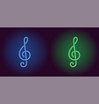neon icon of blue and green musical note vector image