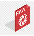 raw format isometric icon vector image vector image