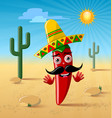 red chilli pepper character with sombrero hat in vector image vector image