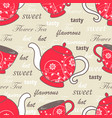 seamless pattern with teapots and cups with floral vector image vector image