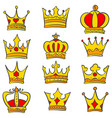 set of glamour crown doodle vector image vector image