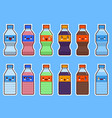 set of kawaii bottle of soda and water flat vector image