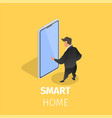 smart home controlled with smartphone internet vector image vector image