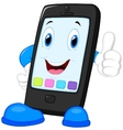 Smart phone cartoon giving thumb up vector image