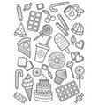 sweets doodle coloring book page antistress vector image vector image
