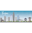 Taipei skyline with grey landmarks and blue sky vector image vector image