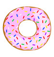 tasty donut with pink cream vector image