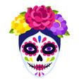 traditional mexican catrina head skull dia de los vector image